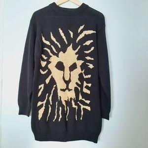 Vintage ANNE KLEIN Gold Lion Sweater Knit Top M